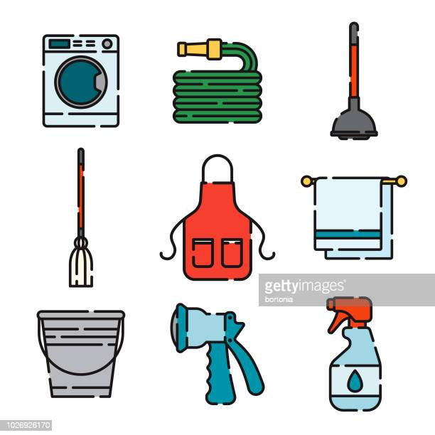 cleaning supplies thin line icon set - laundry detergent stock illustrations, clip art, cartoons, & icons