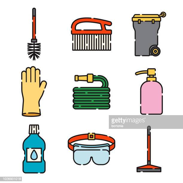 cleaning supplies thin line icon set - toilet brush stock illustrations, clip art, cartoons, & icons