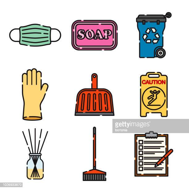 cleaning supplies thin line icon set - dustpan stock illustrations, clip art, cartoons, & icons