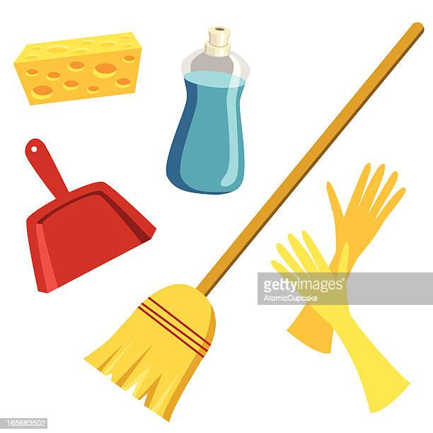 cleaning supplies - dustpan stock illustrations, clip art, cartoons, & icons