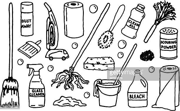 cleaning supplies - paper towel stock illustrations, clip art, cartoons, & icons