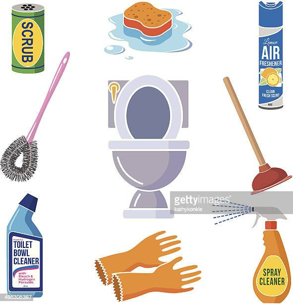cleaning the bathroom icons in color - toilet brush stock illustrations, clip art, cartoons, & icons