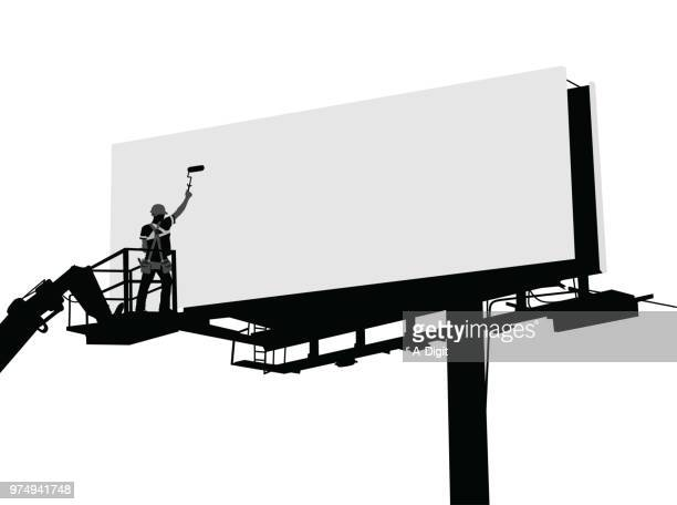 cleaning the billboards - commercial sign stock illustrations