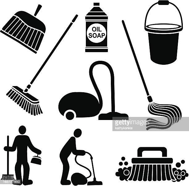 cleaning the floor - dustpan stock illustrations, clip art, cartoons, & icons