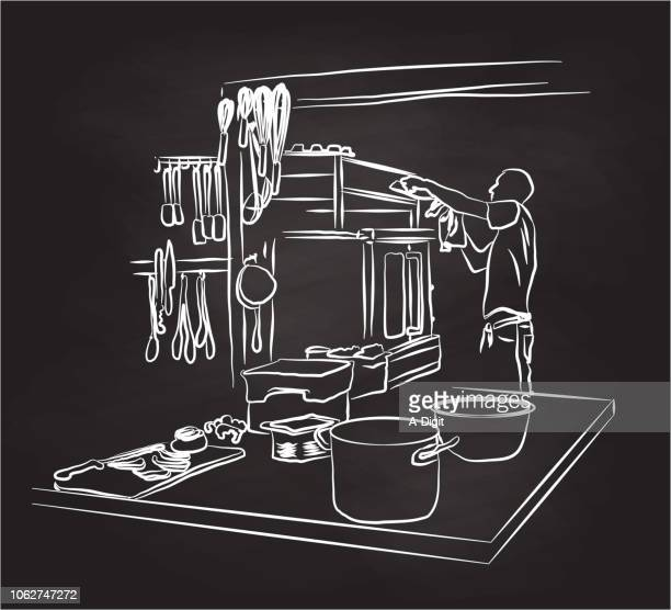 ilustrações, clipart, desenhos animados e ícones de limpeza da cozinha do forno - chef de cozinha