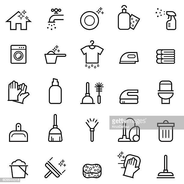 cleaning thin line icons - plunger stock illustrations, clip art, cartoons, & icons