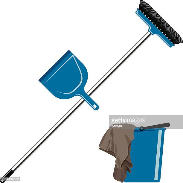 cleaning tools - dustpan stock illustrations, clip art, cartoons, & icons