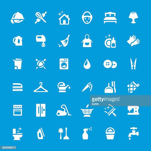cleaning vector icons set - nanny stock illustrations
