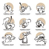 cleaning, washing, sweeping and chamberwork, vector emblems