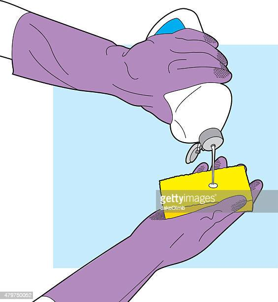 cleaning with sponge line art - washing dishes stock illustrations, clip art, cartoons, & icons
