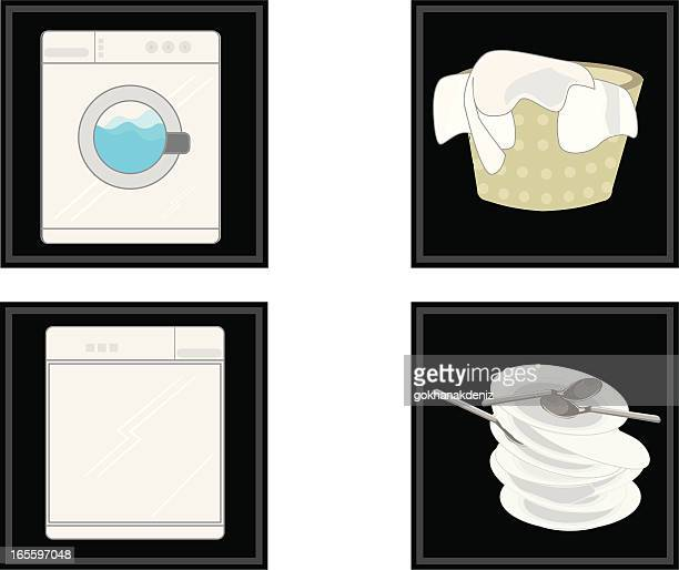 cleanup kitchen meterial - washing dishes stock illustrations, clip art, cartoons, & icons