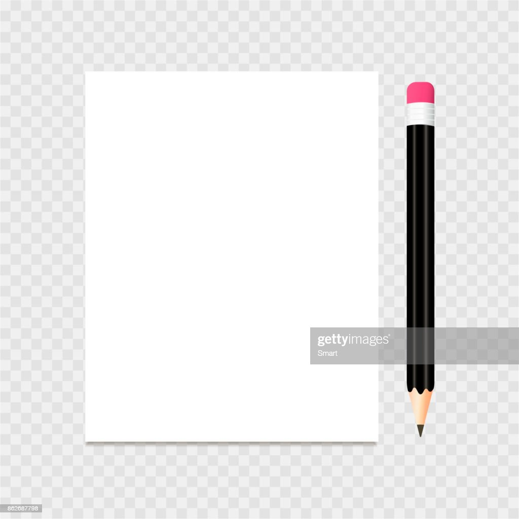 Clear list of paper and pencil on a grey background