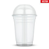 Clear plastic cup with sphere dome cap