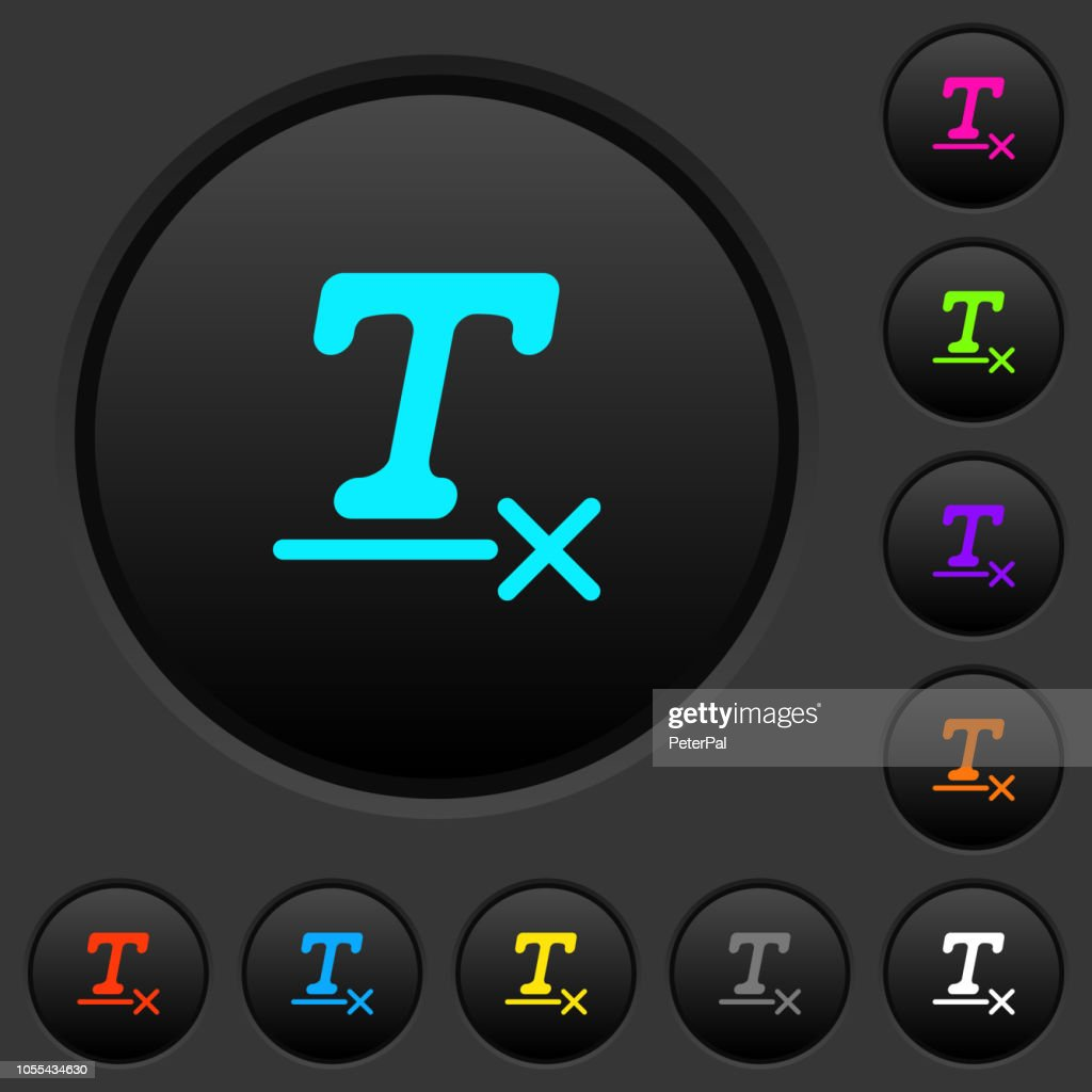 Clear text format dark push buttons with color icons