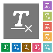 Clear text format square flat icons