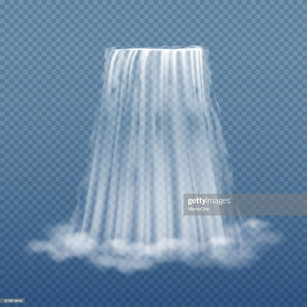 Clear water stream of waterfall isolated on transparent background vector illustration
