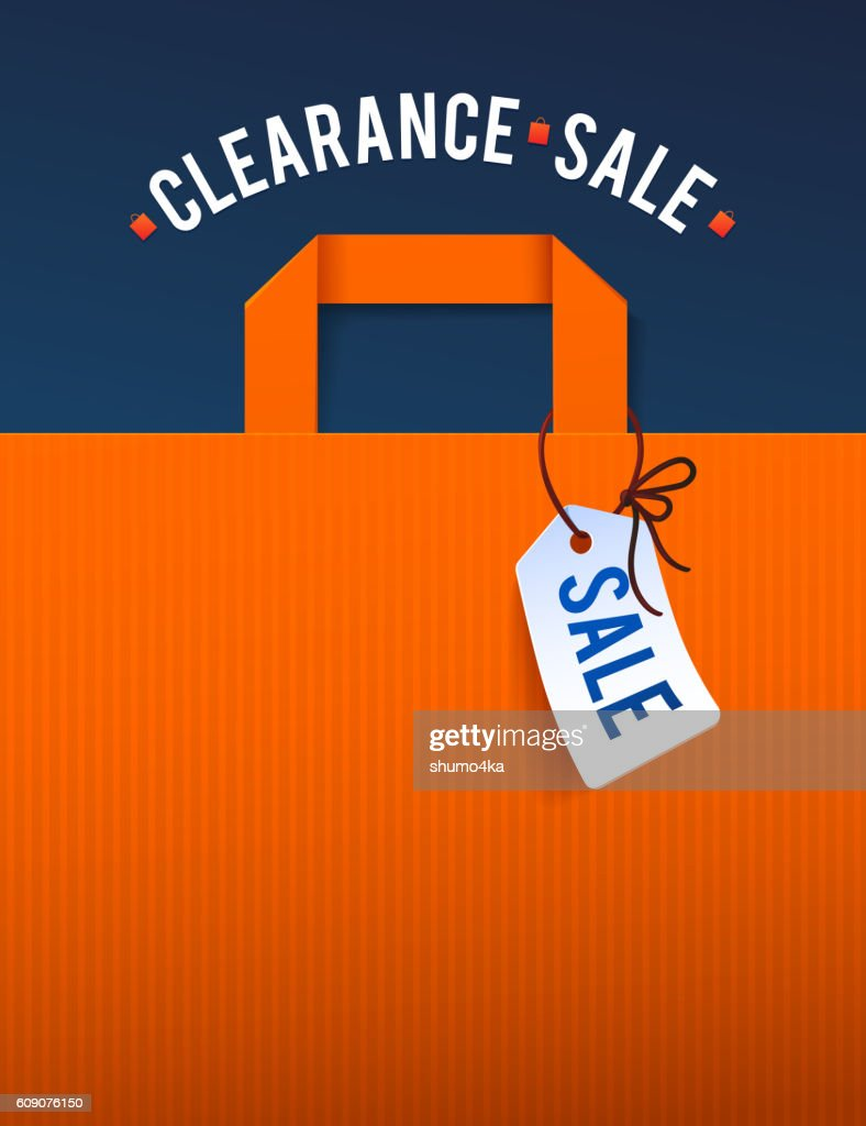 Clearance Sale Poster with percent discount. Illustration of paper shopping
