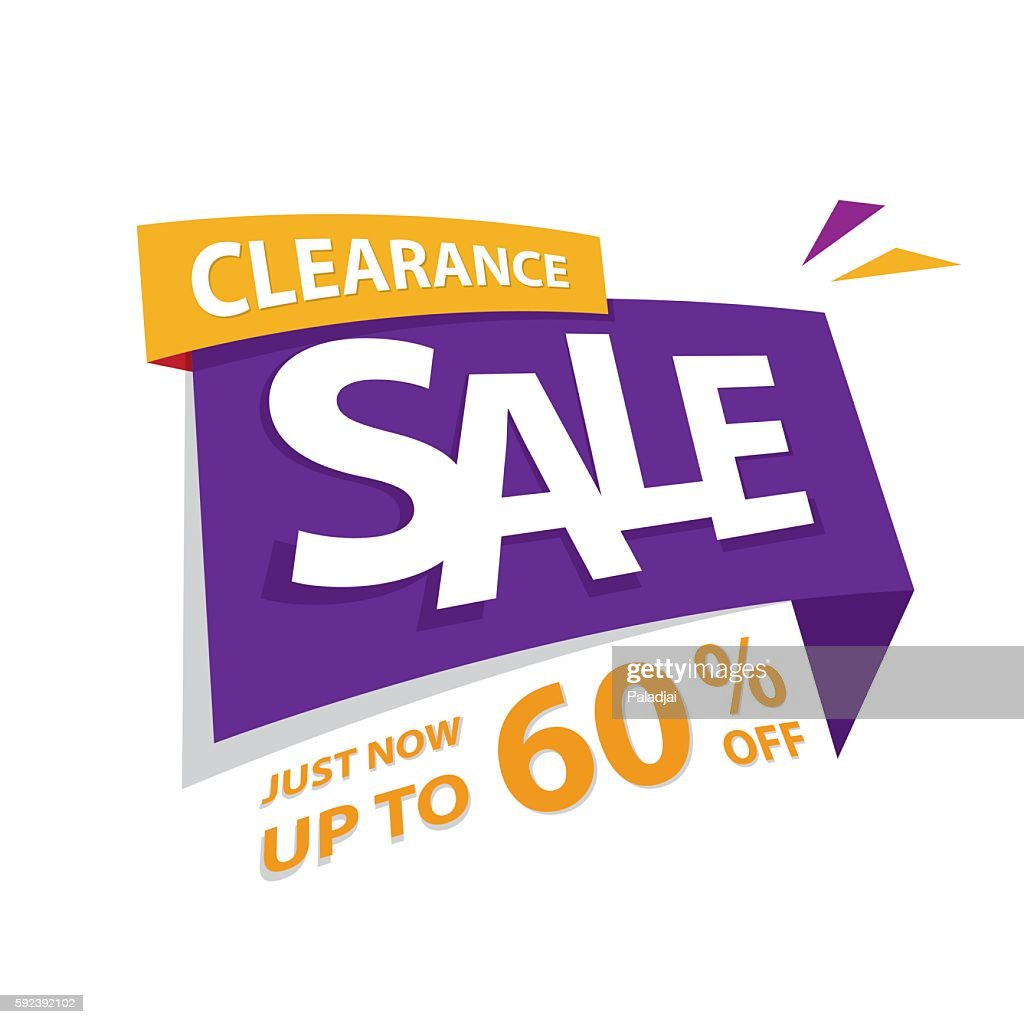 Clearance Sale purple yellow 60 percent heading design for banner.