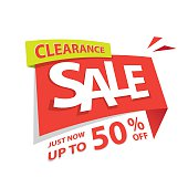 Clearance Sale red tag 50 percent heading design for banner.