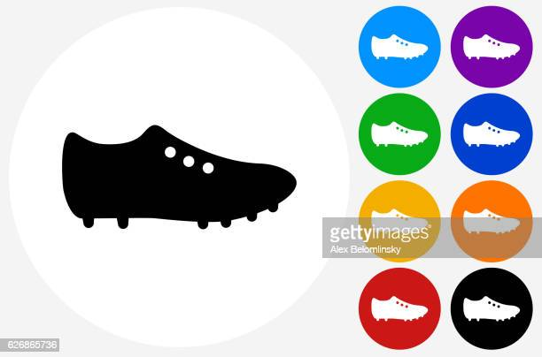 Cleats Icon on Flat Color Circle Buttons