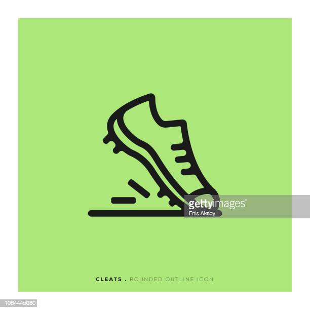 cleats rounded line icon - ankle boot stock illustrations