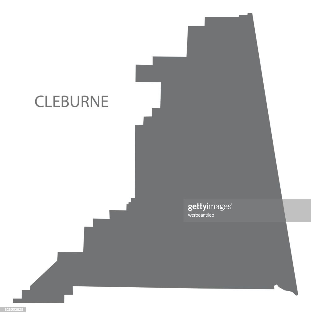 Cleburne county map of Alabama USA grey illustration silhouette