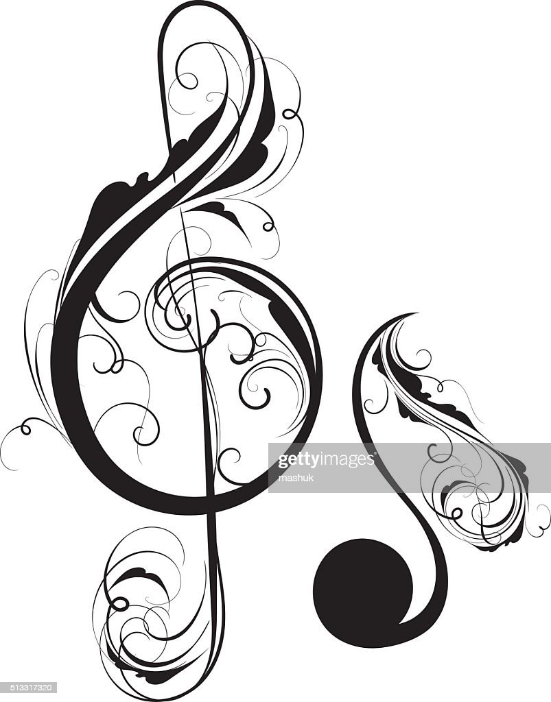 Clef and note : stock illustration
