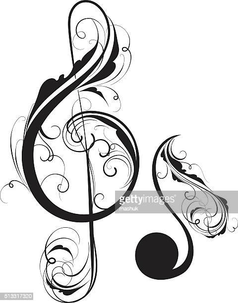 clef and note - treble clef stock illustrations, clip art, cartoons, & icons
