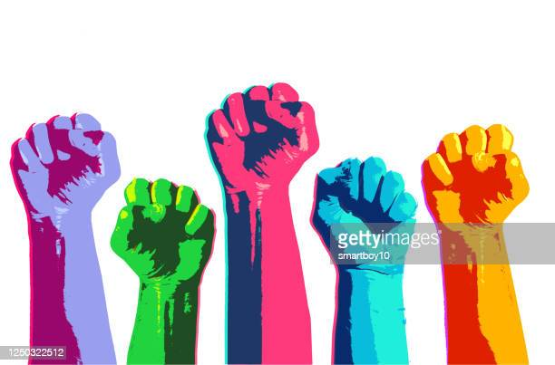 clenched fists held high - campaigner stock illustrations