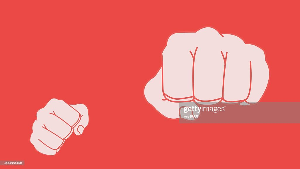Clenched striking man fists in fight stance. Chalk clip art