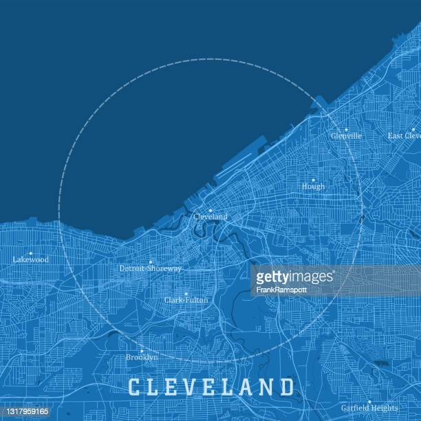 cleveland oh city vector road map blue text - cleveland ohio stock illustrations