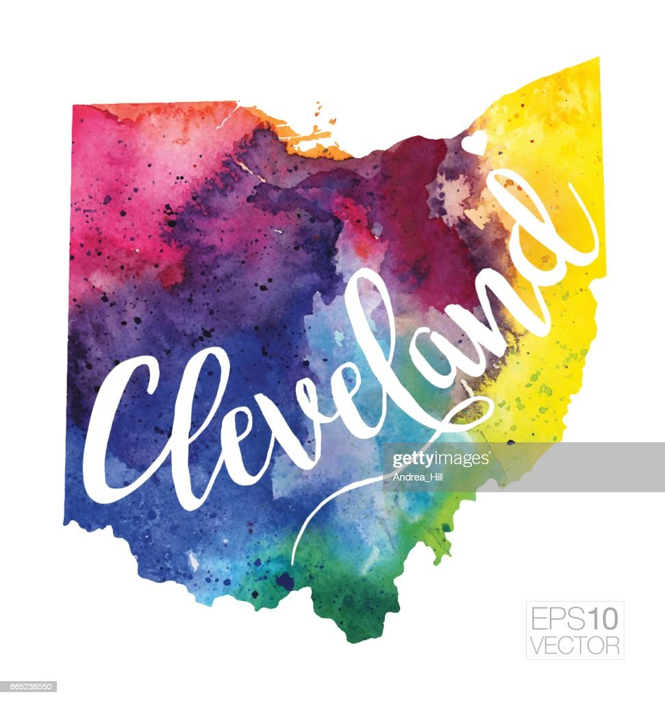 Cleveland Ohio Usa Vector Watercolor Map stock illustration - Getty on usa map oh, zip code map of cleveland, usa map tn, usa map ny, wall map of cleveland, usa map texas, usa map ohio, usa map fl, usa map ga,