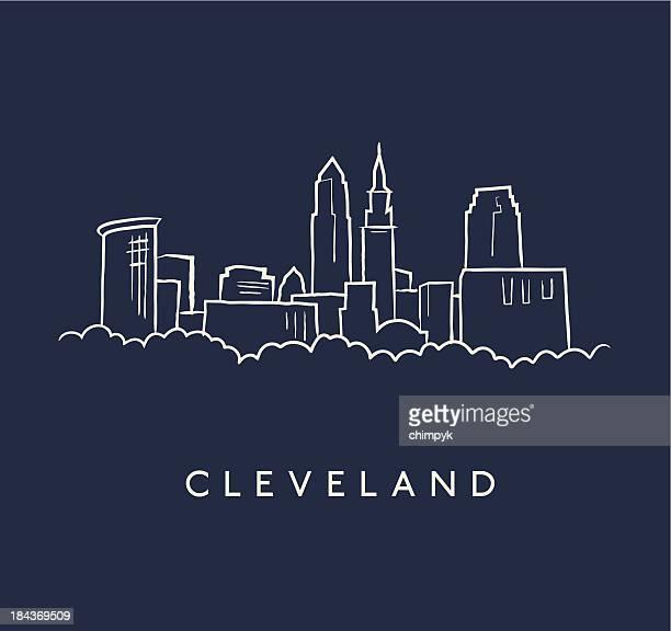 skyline von cleveland skizze - cleveland ohio stock-grafiken, -clipart, -cartoons und -symbole