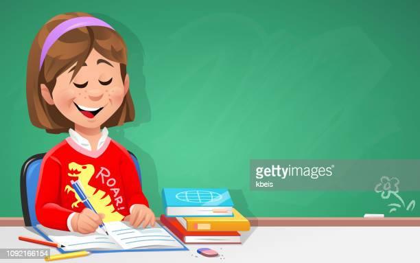 ilustraciones, imágenes clip art, dibujos animados e iconos de stock de chica inteligente en aula - escribir