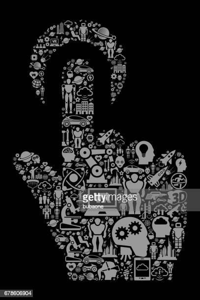 Click Choose  Future and Futuristic Technology Black Icon Background