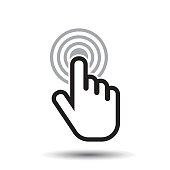 Click hand icon. Cursor finger sign flat vector. Illustration on white background.