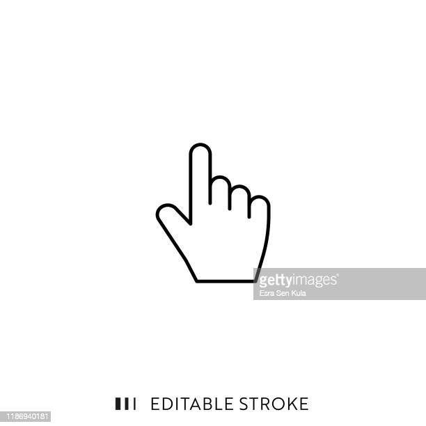 click hand icon with editable stroke and pixel perfect. - aiming stock illustrations