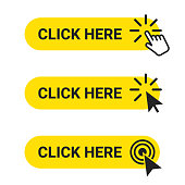 Click here. Set of web buttons with action of mouse cursor and hand pointer. Click here, UI button concept