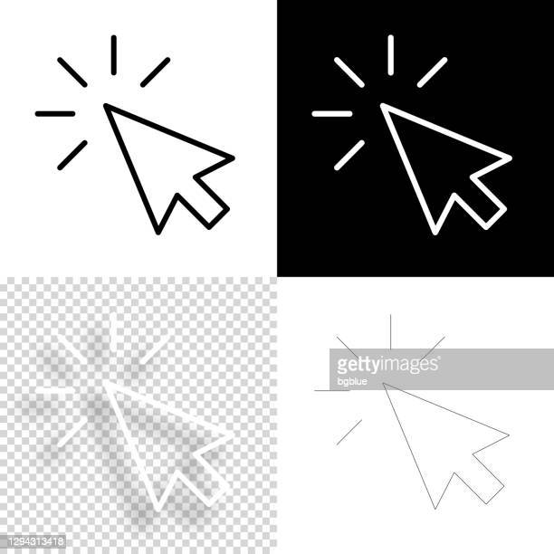illustrazioni stock, clip art, cartoni animati e icone di tendenza di fare clic su. icona per il design. sfondi vuoti, bianchi e neri - icona linea - cursore del mouse
