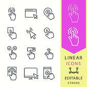 Click - line vector icon set. Editable stroke.