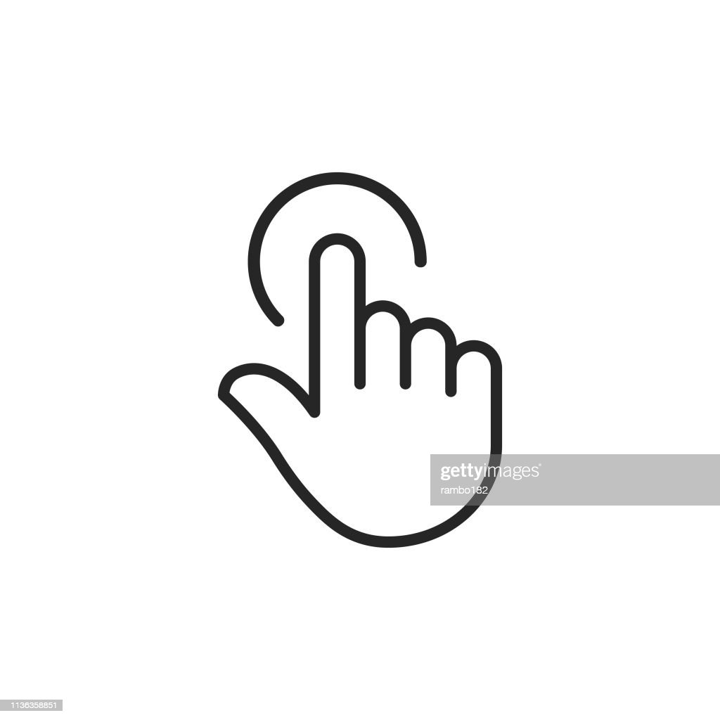 Clicker, Pointer Hand Line Icon. Editable Stroke. Pixel Perfect. For Mobile and Web. : Stock Illustration