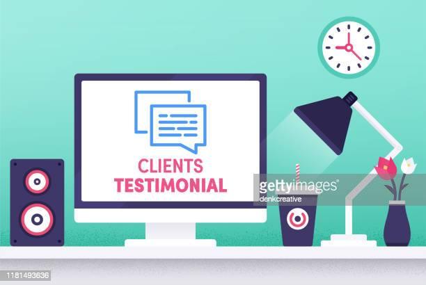 clients testimonial modern flat design concept - testimonial stock illustrations