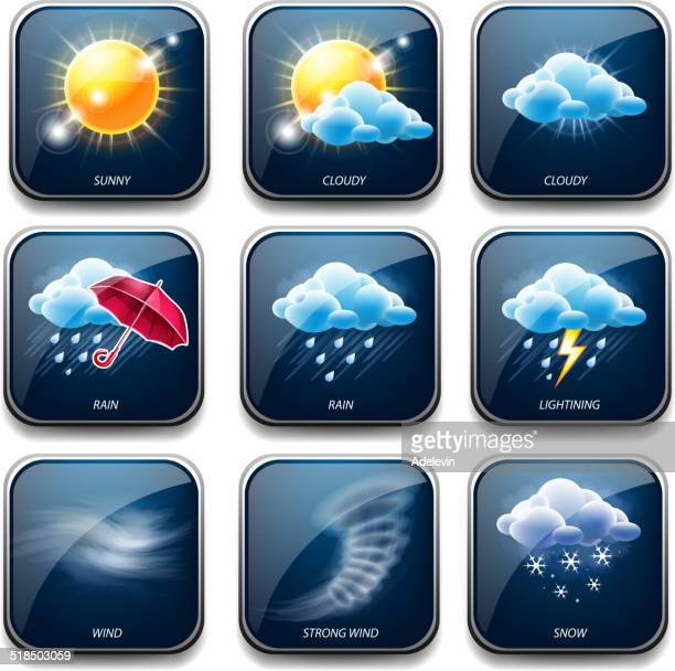 Climate and weather icons set
