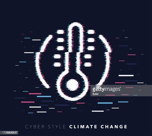 climate change glitch effect vector icon illustration - fahrenheit stock illustrations