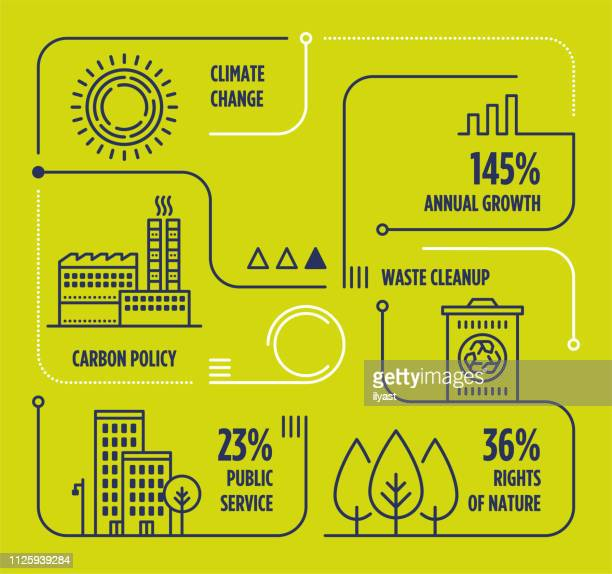 climate change vector line infographic with icons - environment stock illustrations