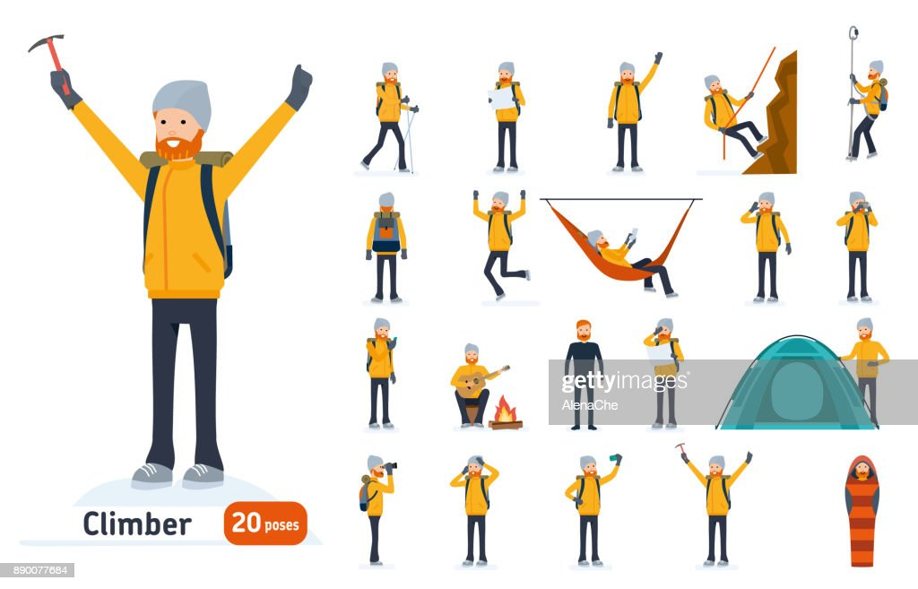 Climber set. Ready to use character set. Climber with a pick on top of a mountain, tourist hiking
