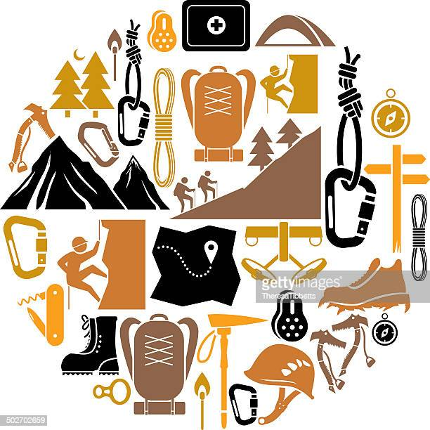 climbing and hiking icon set - climbing equipment stock illustrations