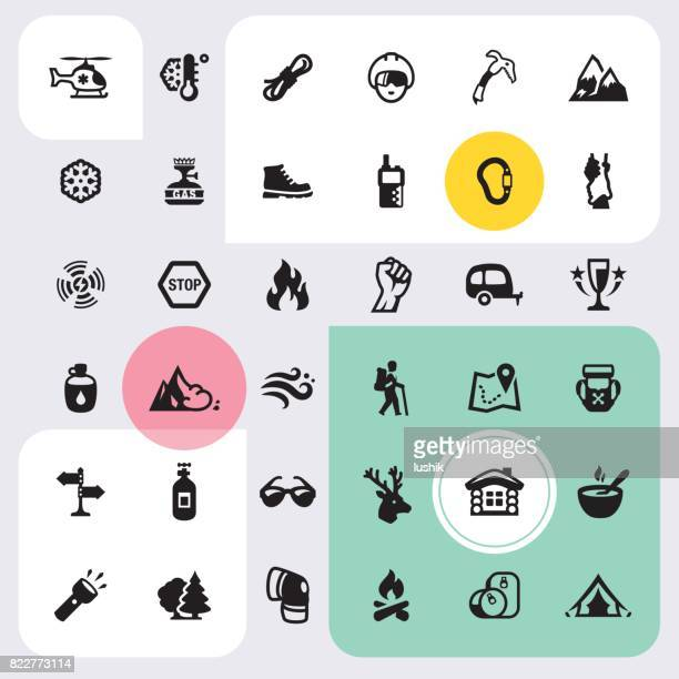 climbing and mountain icons set - climbing equipment stock illustrations