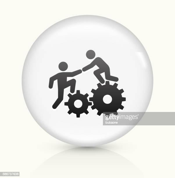 Climbing Gear icon on white round vector button