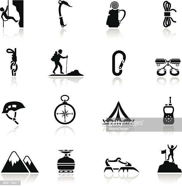 climbing icon set - rock climbing stock illustrations, clip art, cartoons, & icons